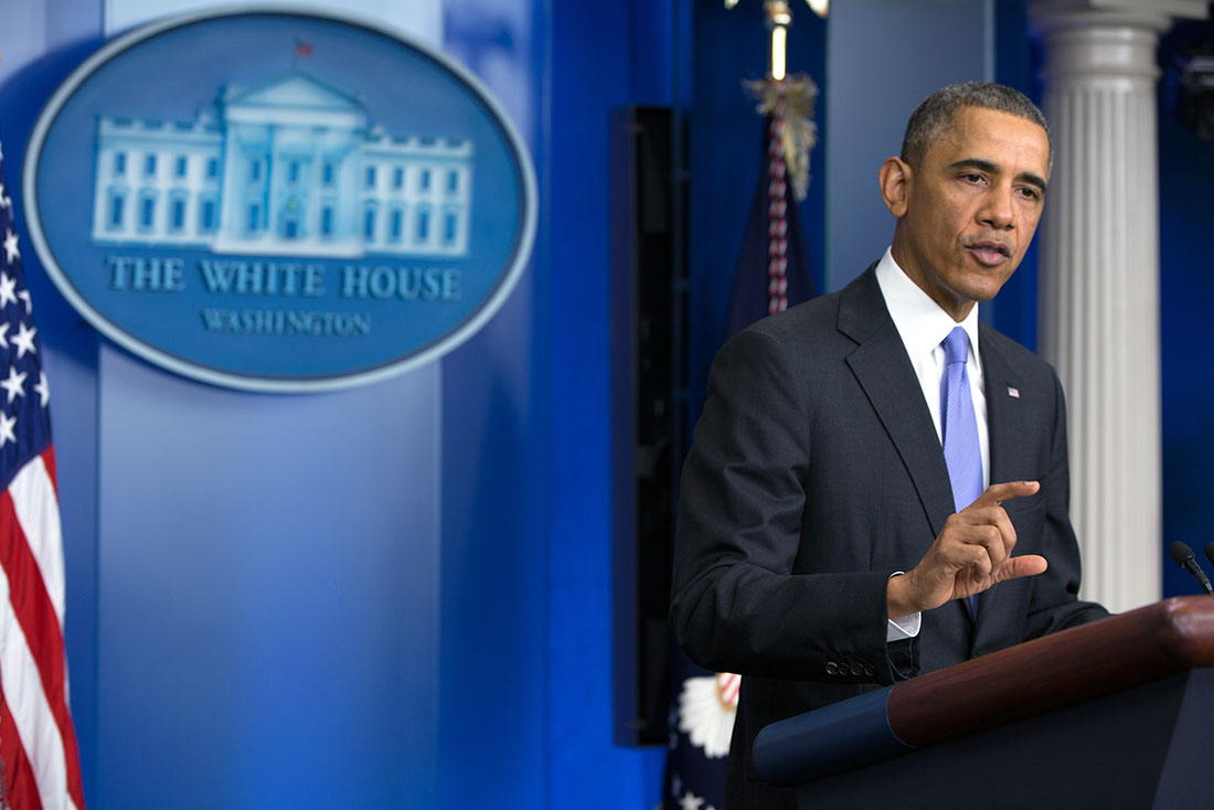 President Barack Obama answers questions at a news conference in the James S. Brady Press Briefing Room of the White House
