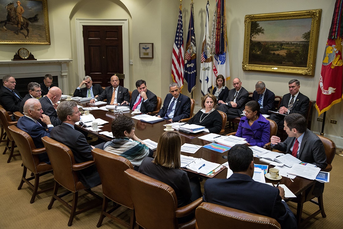 President Obama meets with national security and public health teams to receive an update on the Ebola response, Nov. 18, 2014