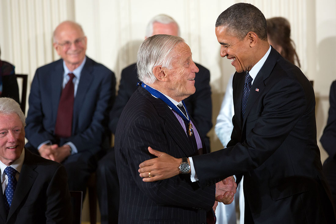 President Barack Obama awards the 2013 Presidential Medal of Freedom to Ben Bradlee during a ceremony in the East Room of the White House, Nov. 20, 2013.