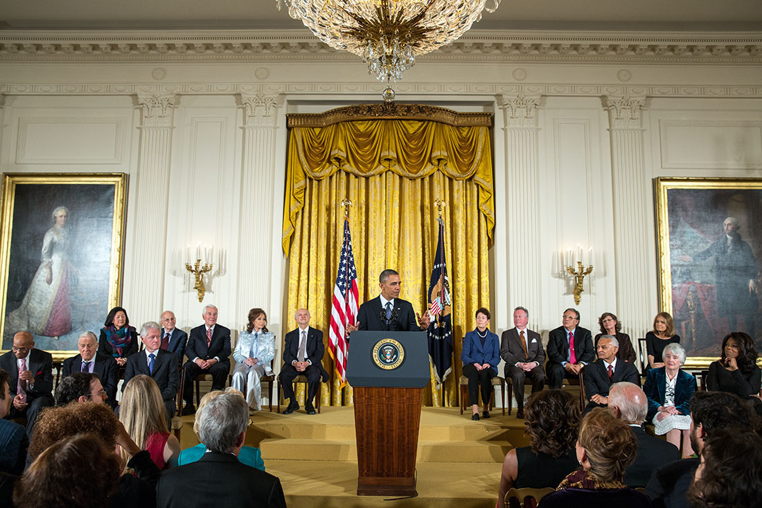 President Barack Obama delivers remarks and awards the 2013 Presidential Medal of Freedom to honorees during a ceremony in the East Room of the White House