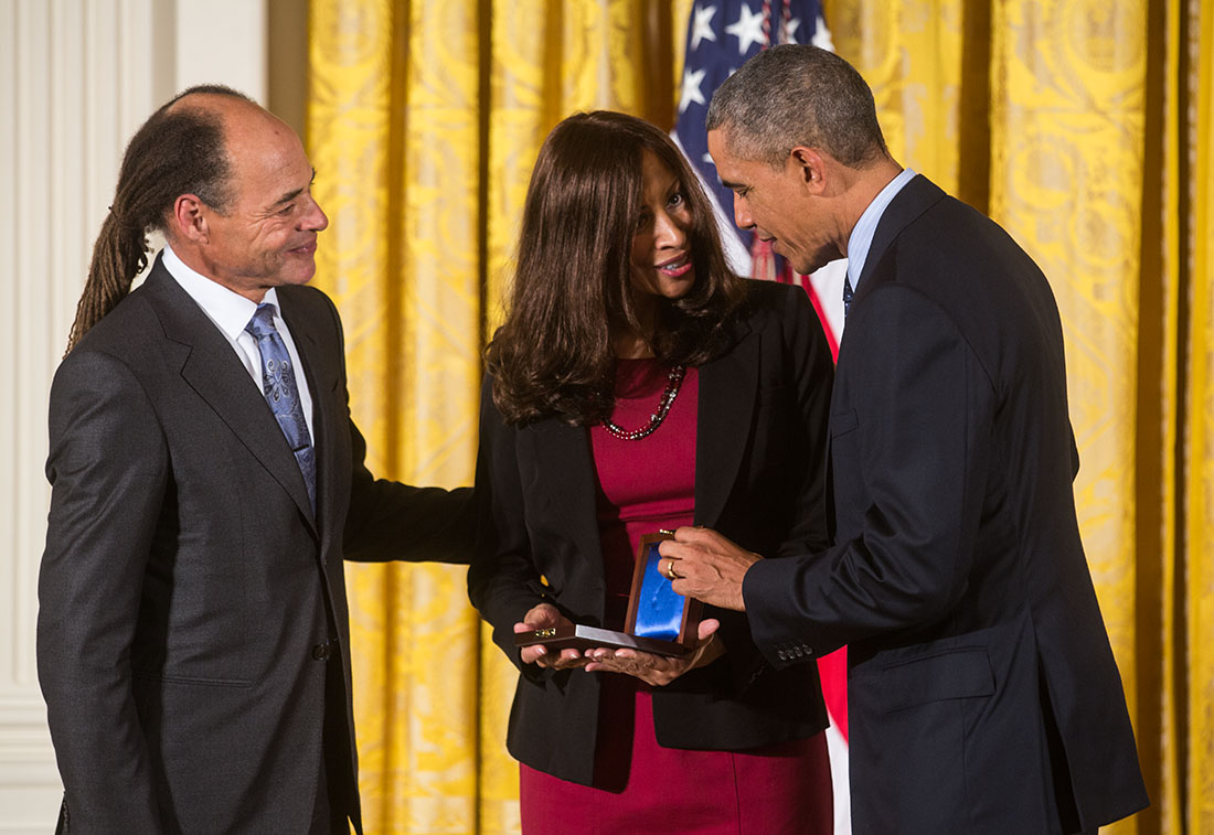 President Barack Obama presents the National Medal of Science posthumously to David Blackwell