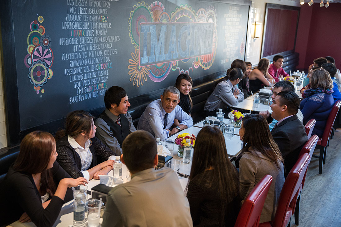 The President Barack And First Lady Have Lunch With Standing Rock Sioux Youth