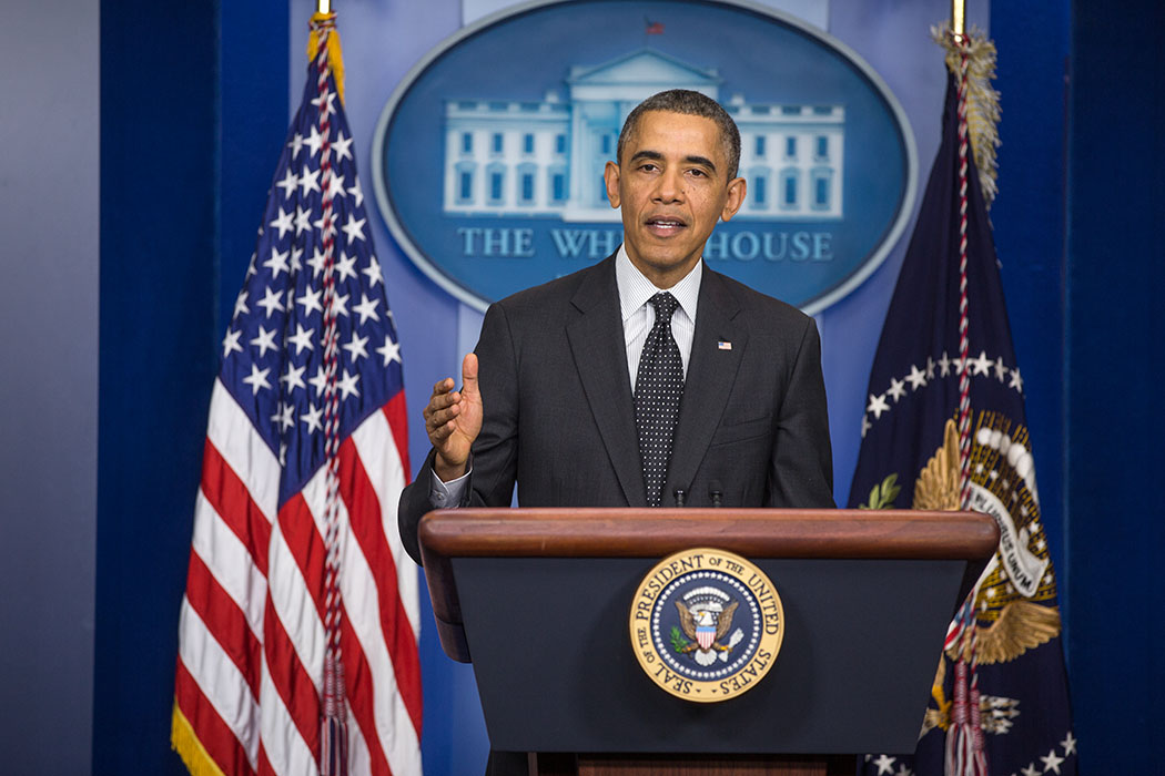 President Barack Obama delivers a statement on Senate filibuster rules, in the James S. Brady Press Briefing Room of the White House, Nov. 21, 2013.