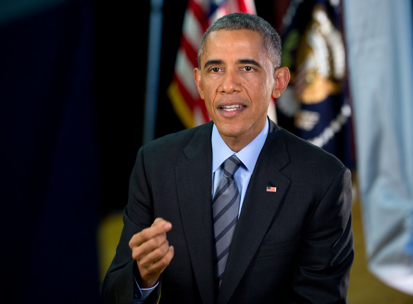 President Barack Obama tapes the Weekly Address at Del Sol High School in Las Vegas, Nev., Nov. 21, 2014.