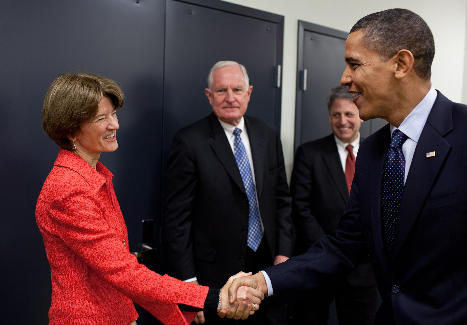 President Obama greets former astronaut Sally Ride at the launch of the