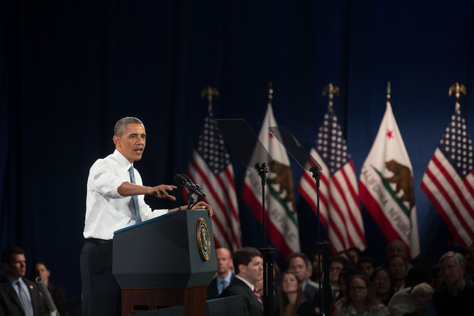 President Barack Obama delivers remarks on immigration, at the Betty Ann Ong Chinese Recreation Center in San Francisco, Calif