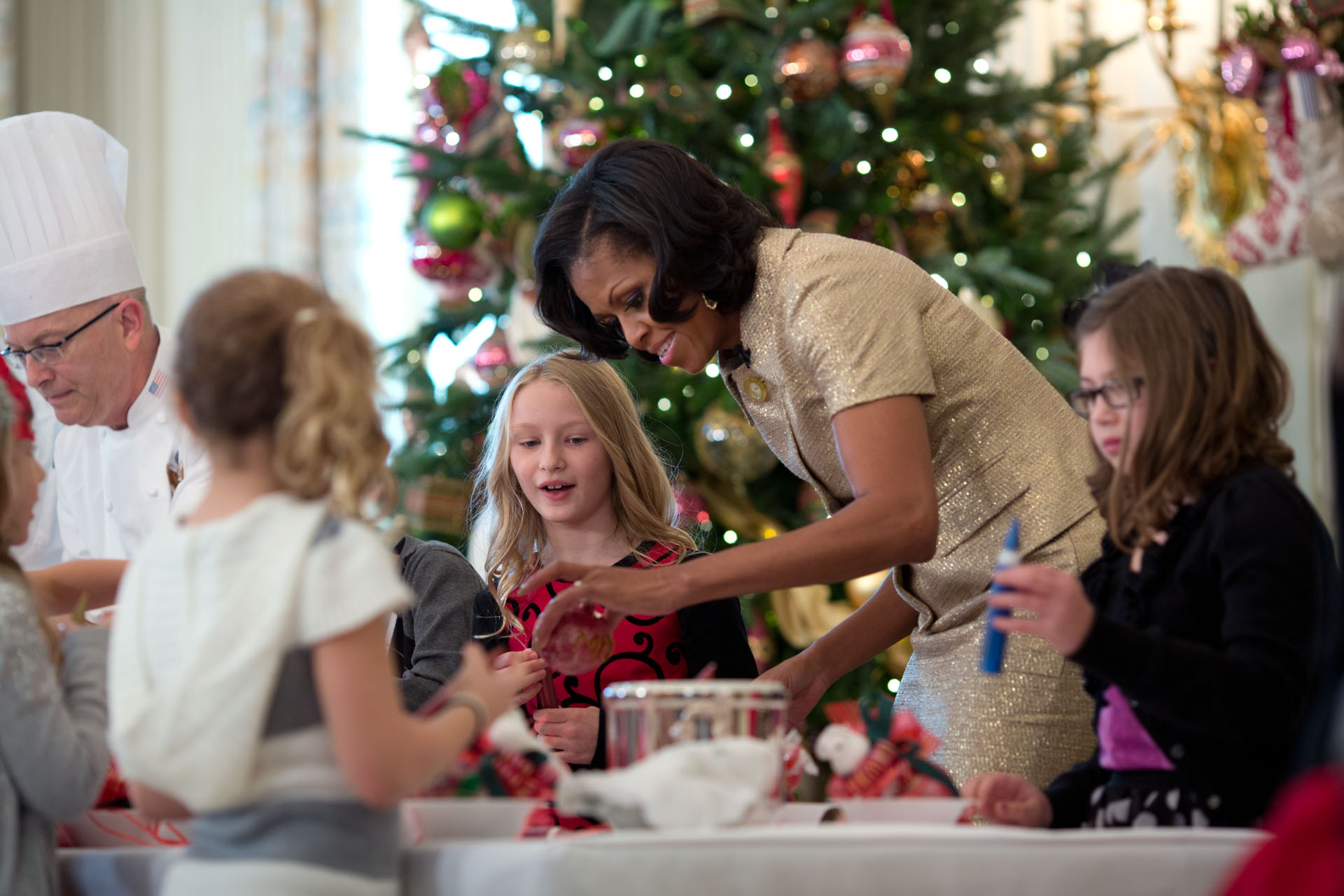 Holiday decorations at the white house are displayed during a press - First Lady Michelle Obama Participates In A Craft Project During The Holiday Press Preview Nov
