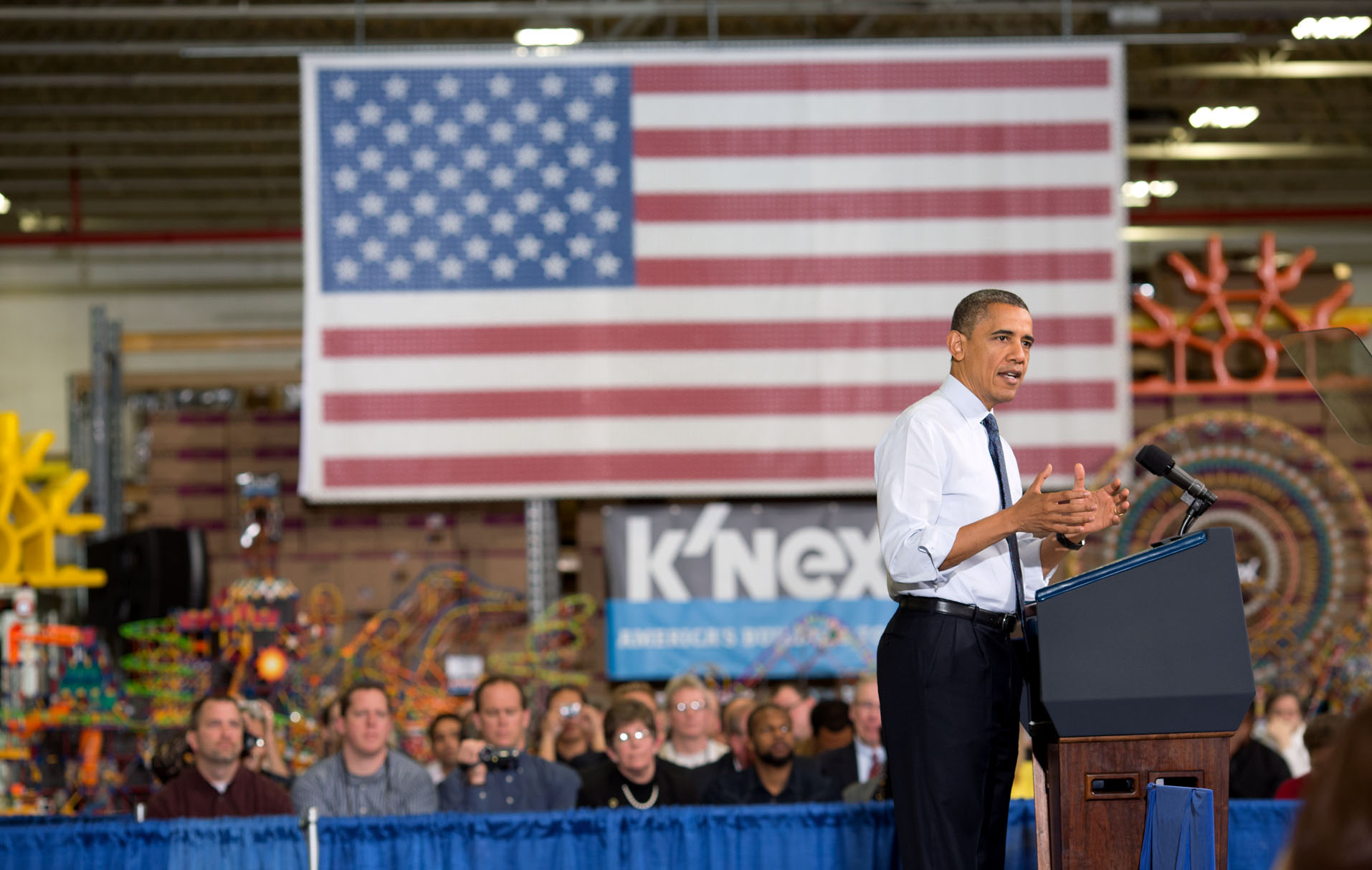 President Barack Obama delivers remarks at the K'NEX Production Facility
