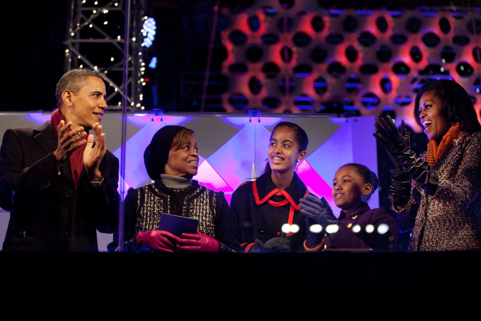 The Obama Family Lights the National Christmas Tree
