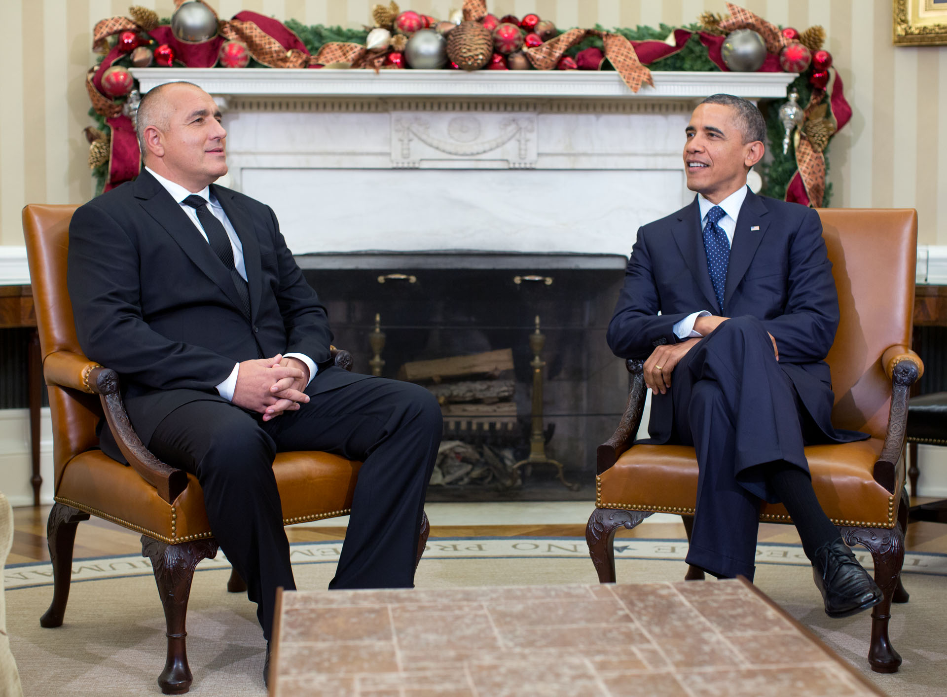 President Obama meets with Prime Minister Boyko Borissov of Bulgaria in the Oval Office, Dec. 3, 2012.