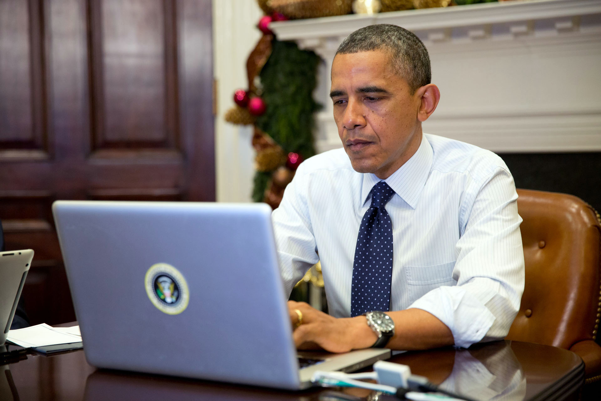 President Obama participates in a live Twitter #My2k chat, Dec. 3, 2012.