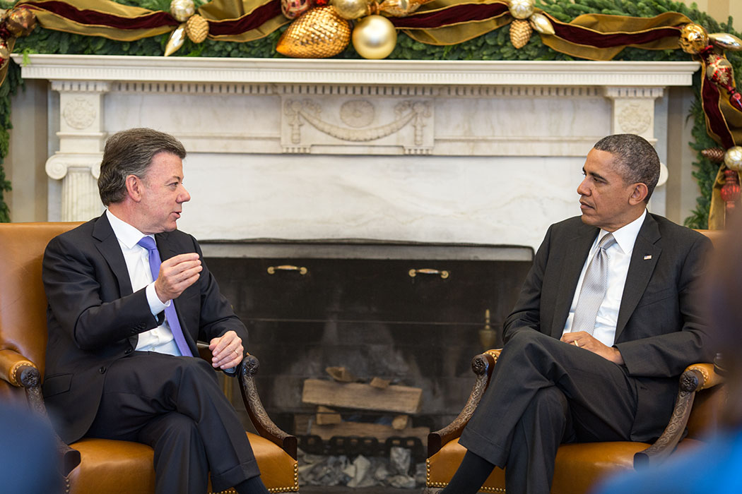 President Barack Obama holds a bilateral meeting with President Juan Manuel Santos of Colombia