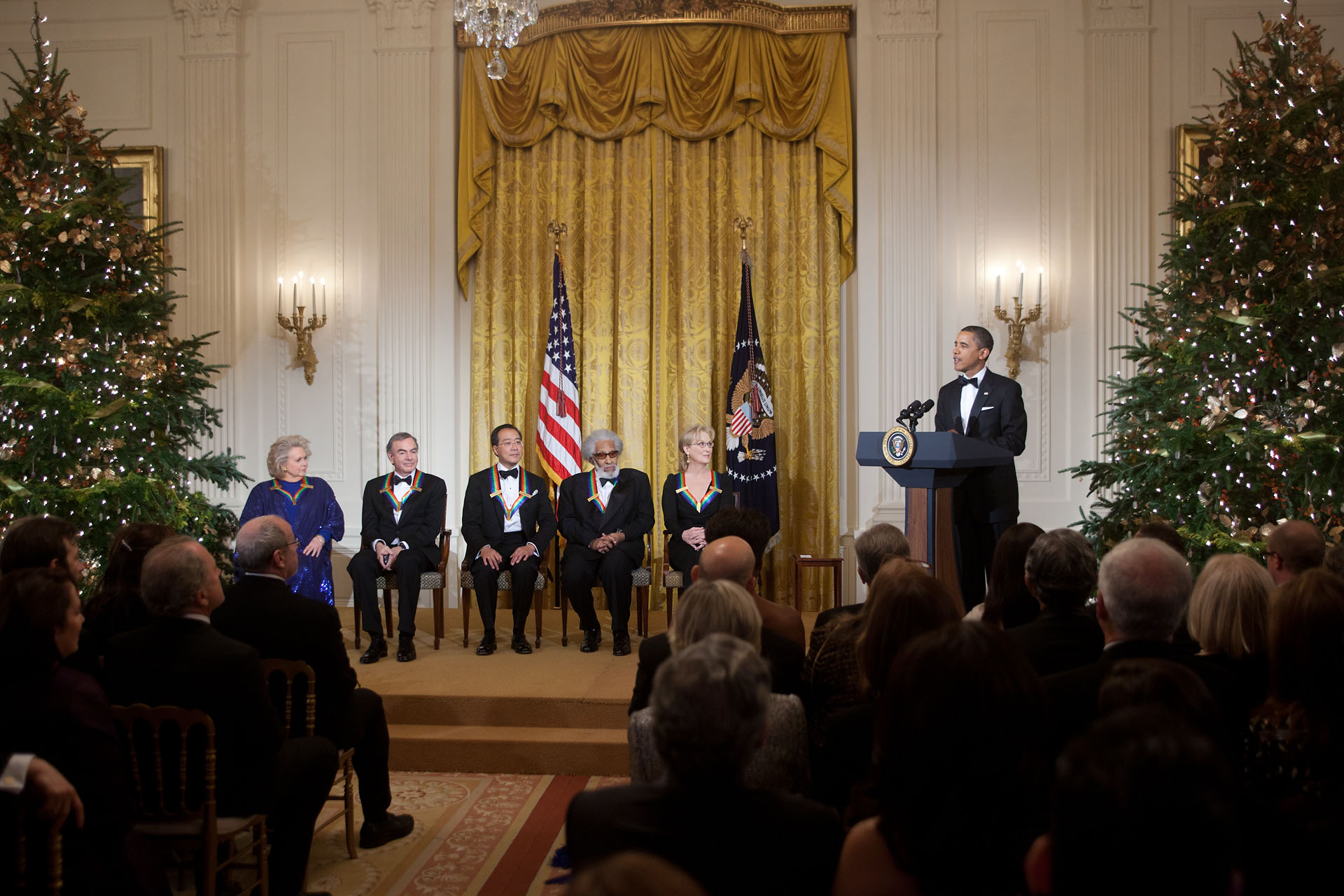 President Barack Obama delivers remarks during the 2011 Kennedy Center Honors reception