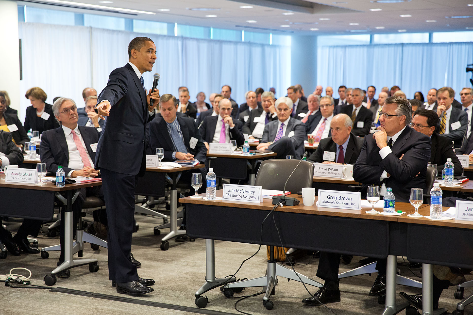 President Barack Obama delivers remarks and takes questions from business leaders