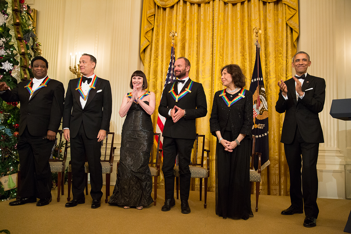 President Barack Obama applauds the Kennedy Center Honorees after delivering remarks