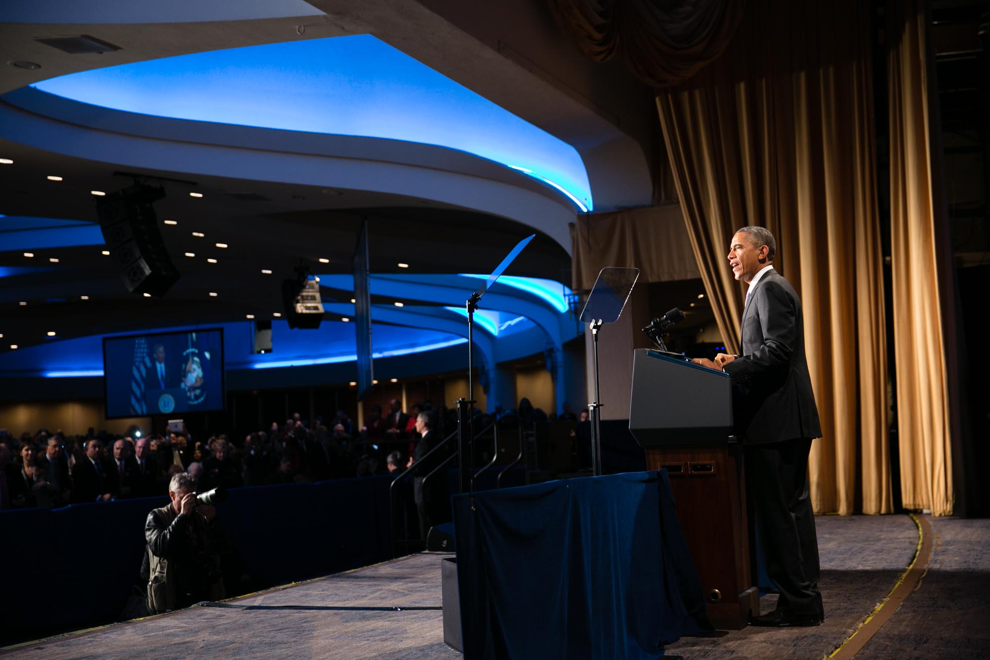 President Barack Obama delivers remarks during an event for the Senior Executive Service (1)