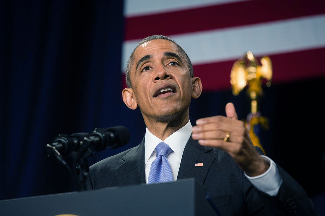 President Barack Obama delivers remarks during an event for the Senior Executive Service (2)