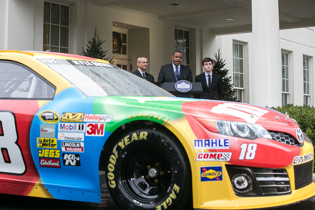Secretary Foxx and John Podesta announce with NASCAR driver Ryan Blaney a partnership to raise awareness of tire safety and actions to cut carbon pollution