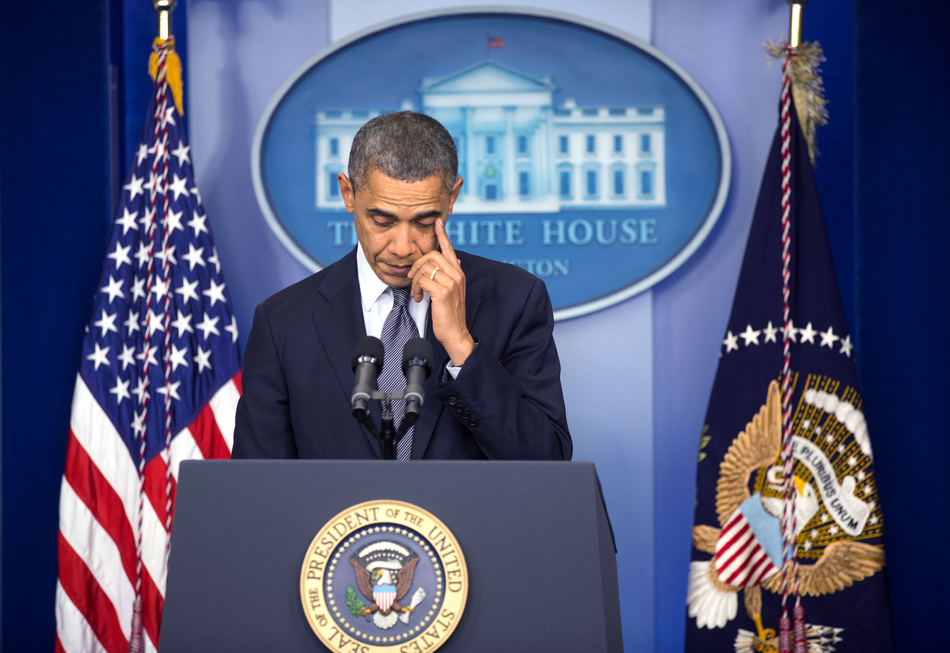 President Obama delivers a statement on the mass shooting at Sandy Hook Elementary School in Newtown, Connecticut, Dec. 14, 2012.