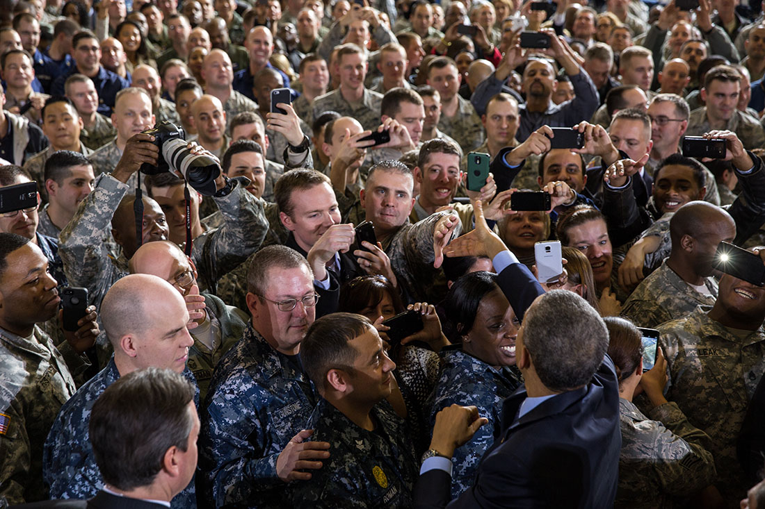 President Obama greets members of the audience at Joint Base McGuire-Dix-Lakehurst