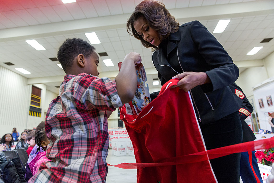 First Lady Michelle Obama Collects Toys for Tots