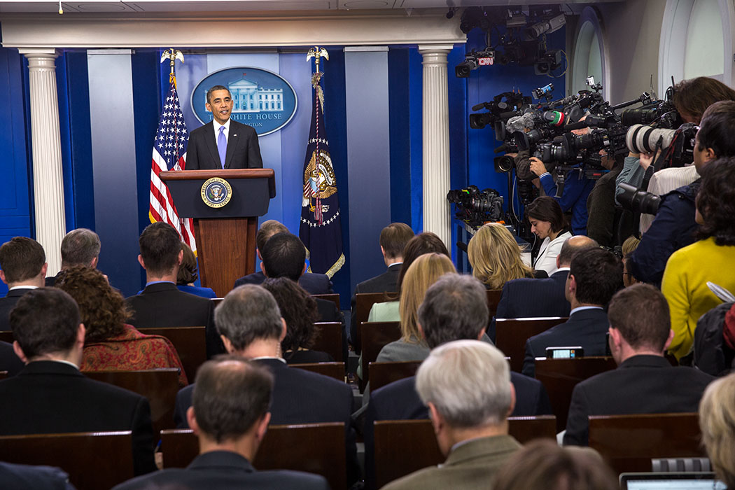 President Barack Obama holds a press conference in the James S. Press Briefing Room of the White House, Dec. 20, 2013.