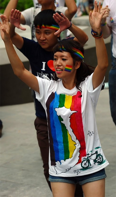 Participant in LGBT Flashmob in Vietnam
