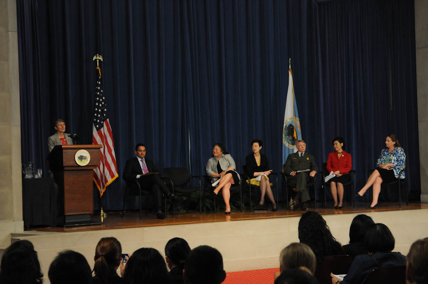 Secretary of the Interior Sally Jewell addresses the White House Forum on AAPI