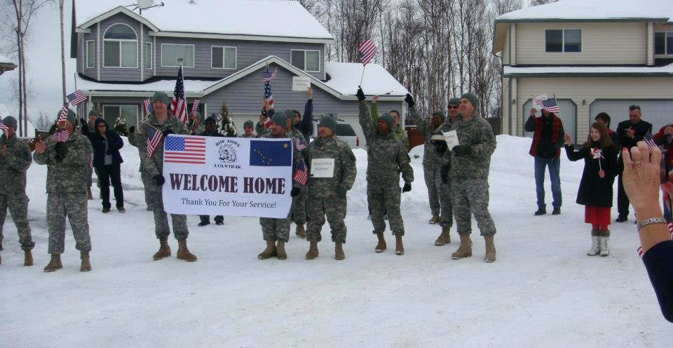 Soldiers and Cadre members of the Warrior Transition Battalion-Alaska conduct a 'Welcome Home' Ceremony for Mr. Peter Krzanowski a Vietnam Veteran