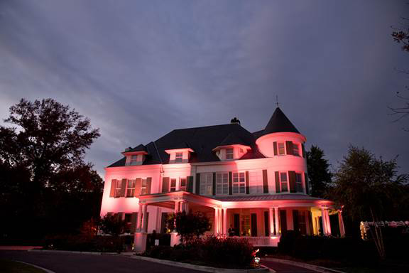 The Naval Observatory is lit pink in honor of Breast Cancer Awareness Month