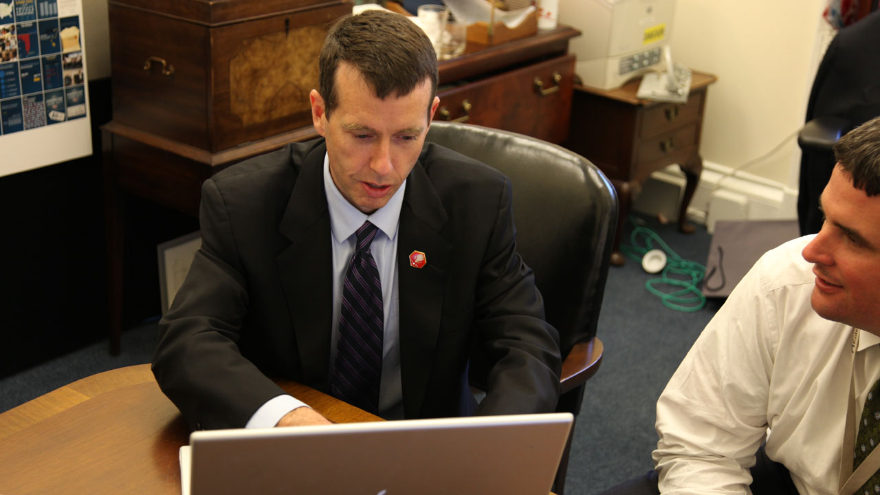 David Plouffe answers questions during Office Hours