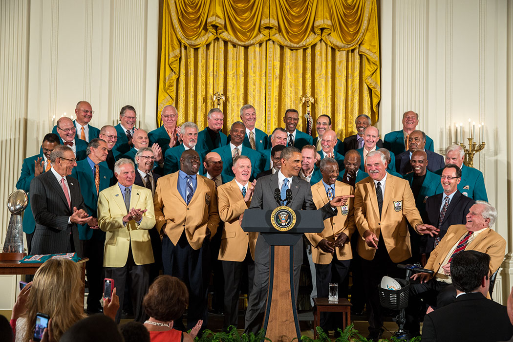 President Barack Obama delivers remarks during a ceremony honoring the 1972 Super Bowl Champion Miami Dolphins