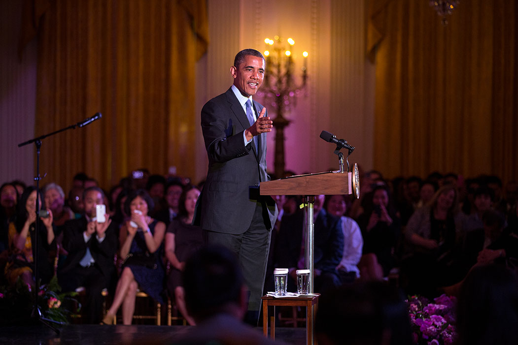 President Barack Obama delivers remarks at the Asian American and Pacific Islander Heritage Month celebration