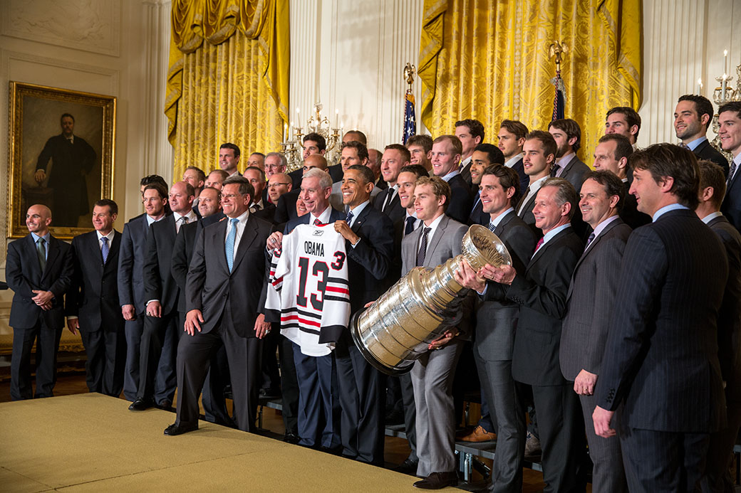 President Barack Obama welcomes the five-time Stanley Cup Champion Chicago Blackhawks