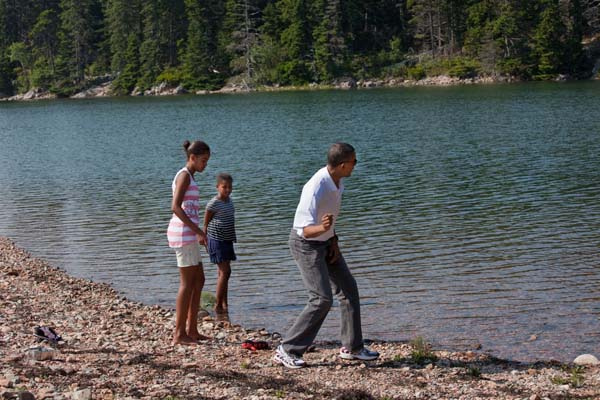 President Obama with his daughters at Acadia National Park