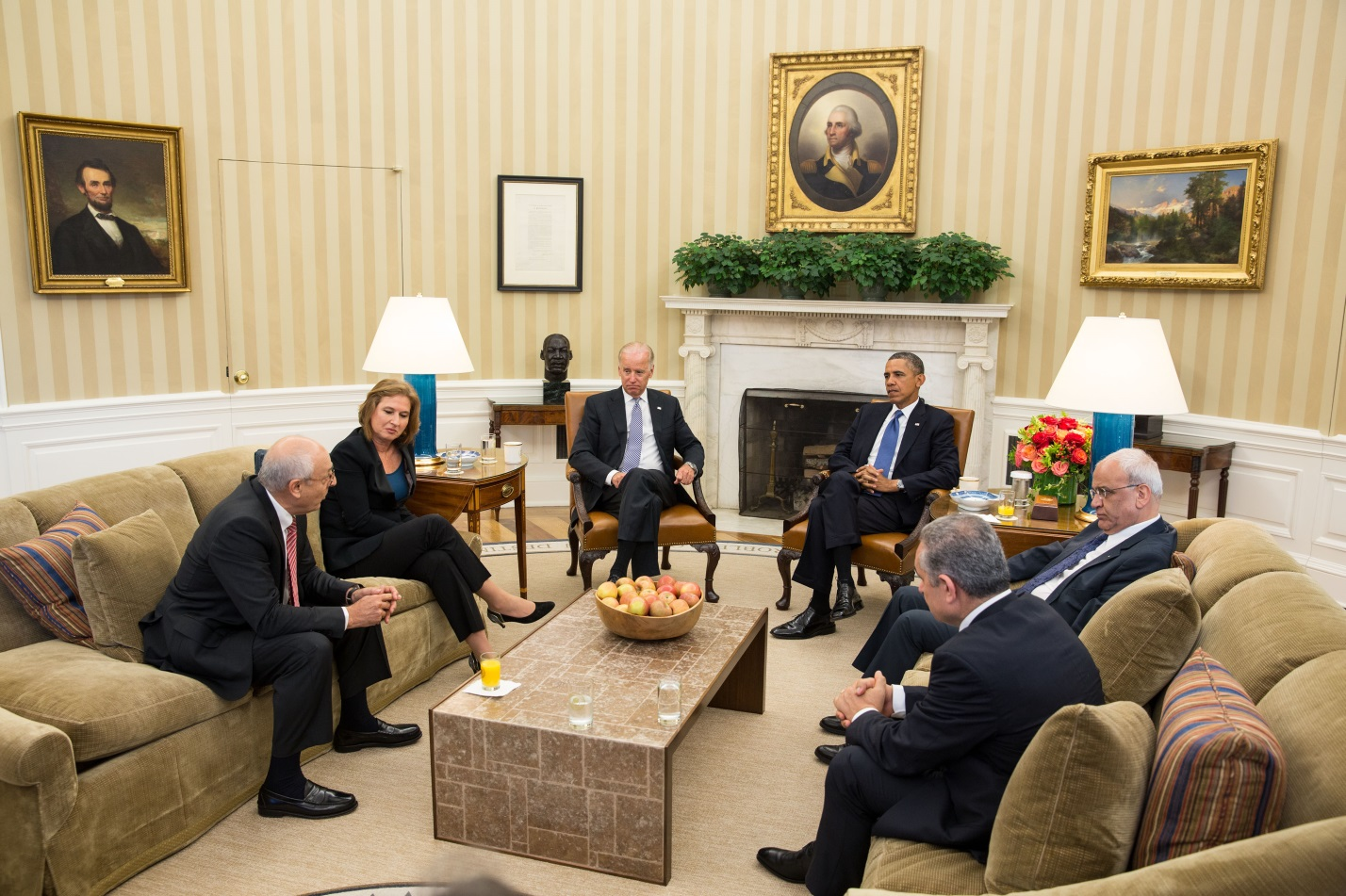 President Barack Obama and Vice President Joe Biden meet with Israeli and Palestinian negotiators