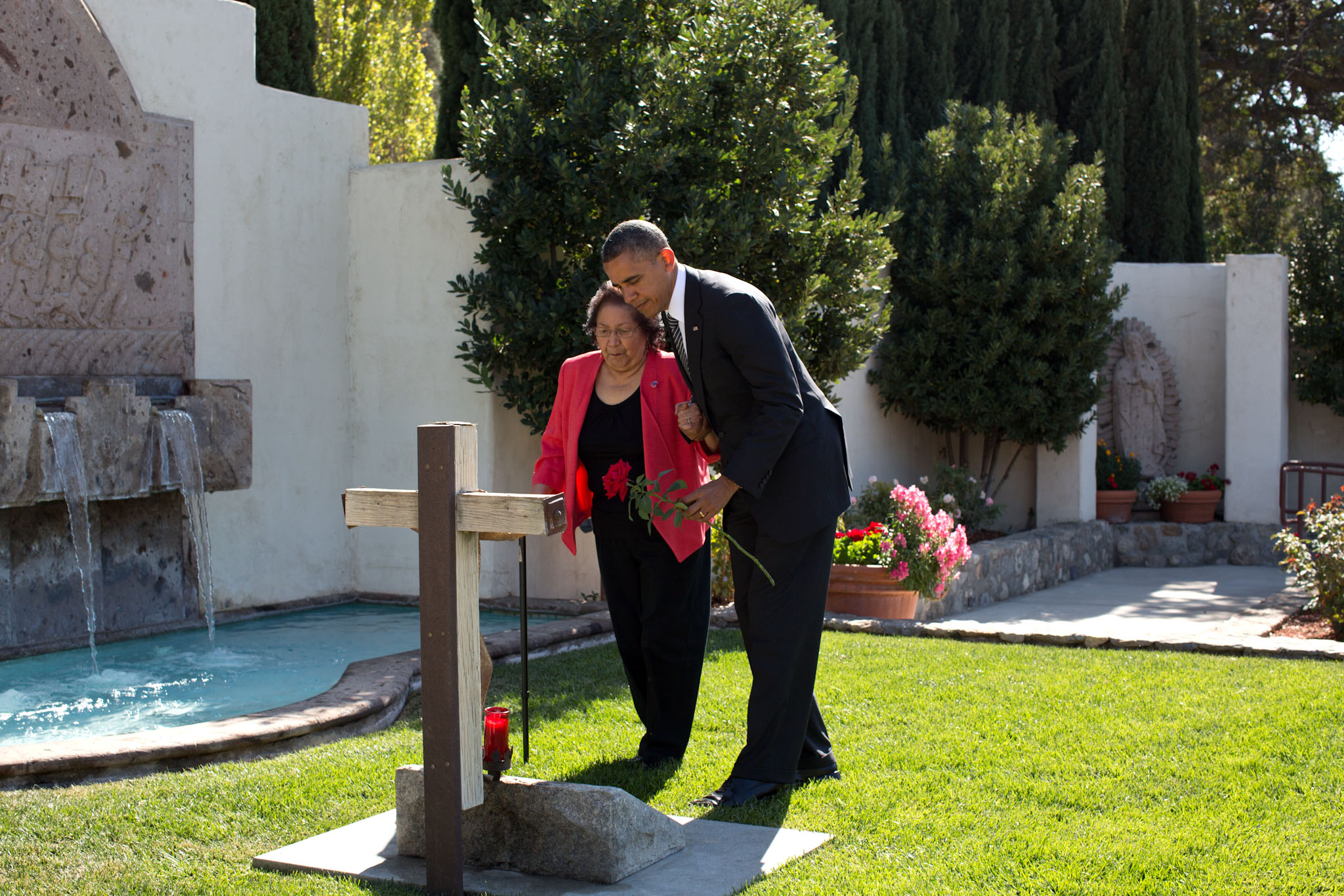 President Barack Obama and Helen Chavez in Keene, Calif., Oct. 8, 2012