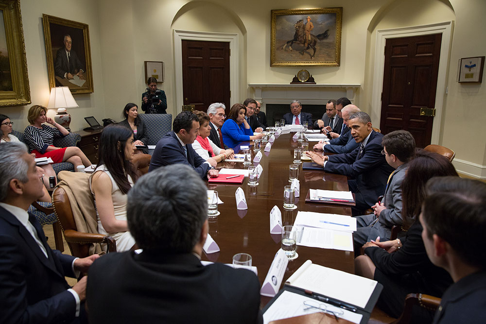 President Barack Obama and Vice President Joe Biden meet with Latino leaders