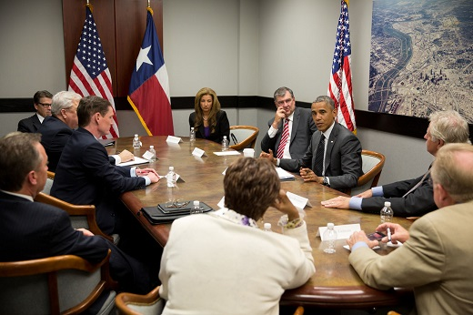 President Barack Obama Chairs a Meeting with Texas Officials in Dallas