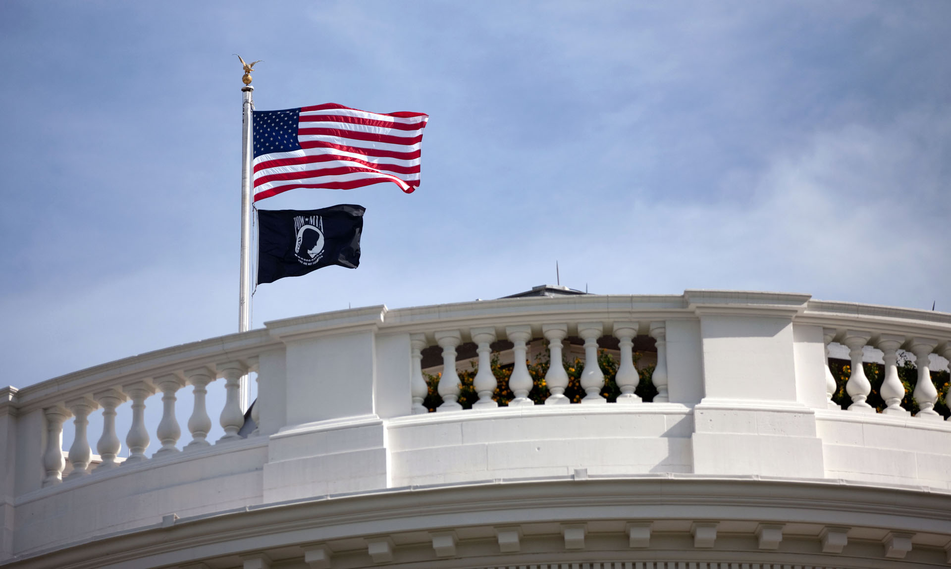 A POW-MIA flag flies over the White House