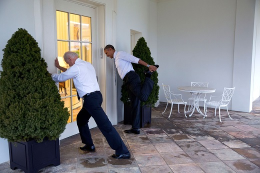 President Barack Obama and Vice President Joe Biden participate in a