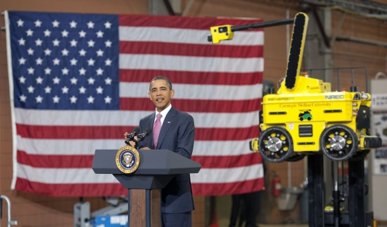 President Barack Obama delivers remarks following a tour of the National Robotics Engineering Center
