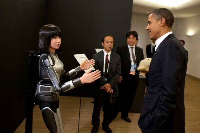 President Barack Obama observes the Cybernetic Human Robot