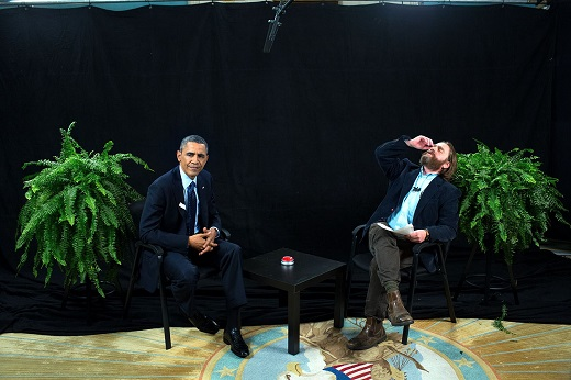 President Barack Obama participates in an interview with Zach Galifianakis