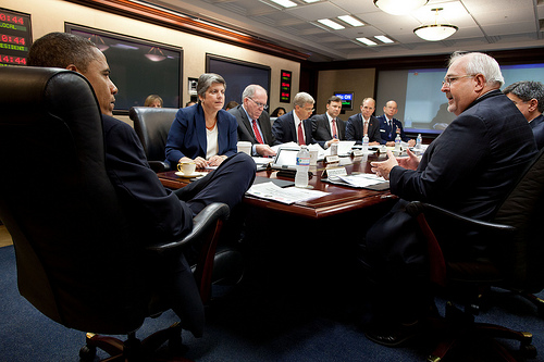 President Barack Obama participates in the 2012 hurricane preparedness briefing in the Situation Room