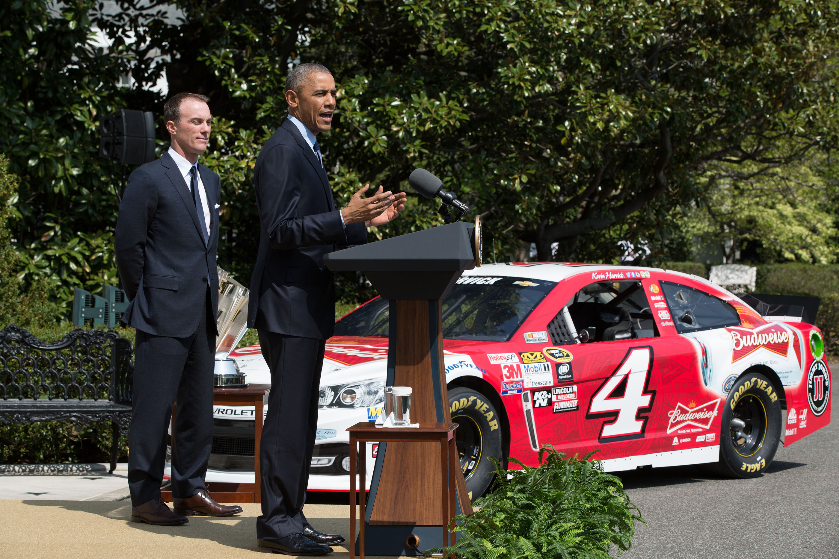 President Obama and Kevin Harvick on South Lawn