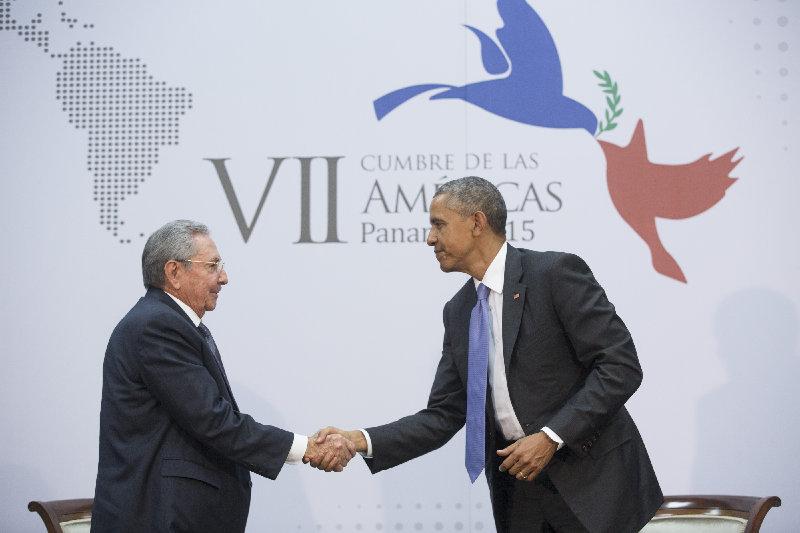 President Obama participates in a pull aside with Raul Castro