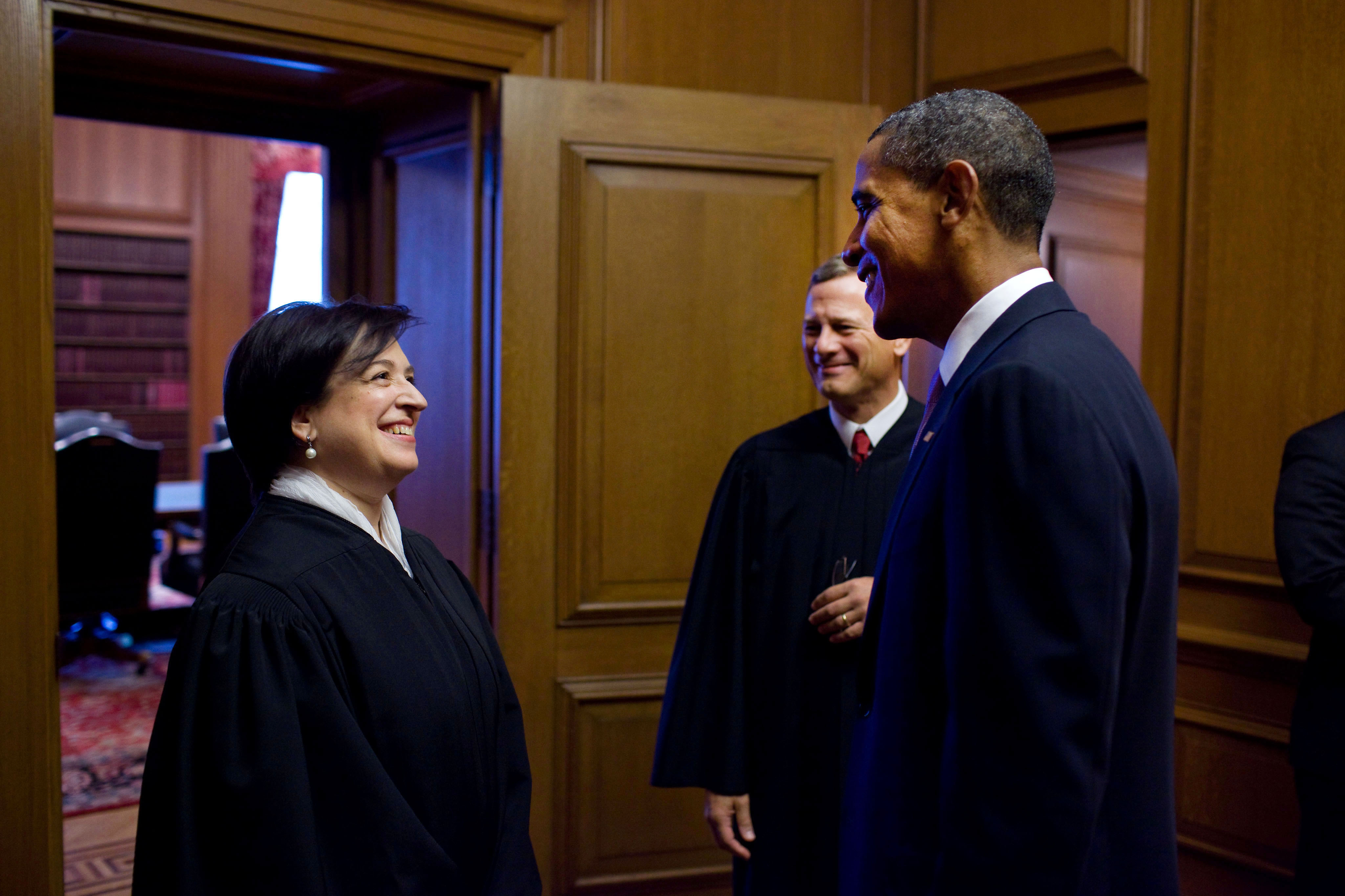 President Obama Greets Justice Elena Kagan and Chief Justice John Roberts Before Justice Kagan's Investiture Ceremony