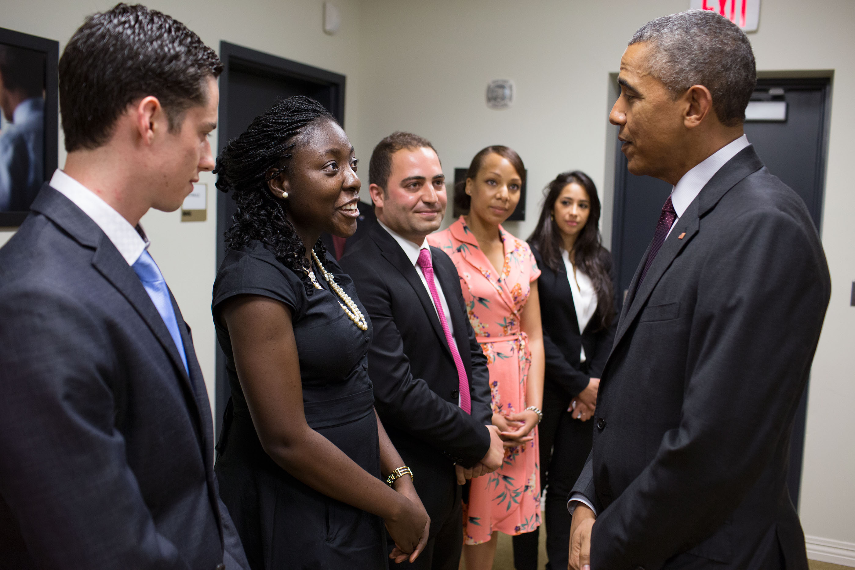 President Obama greets young entrepreneurs in South Court