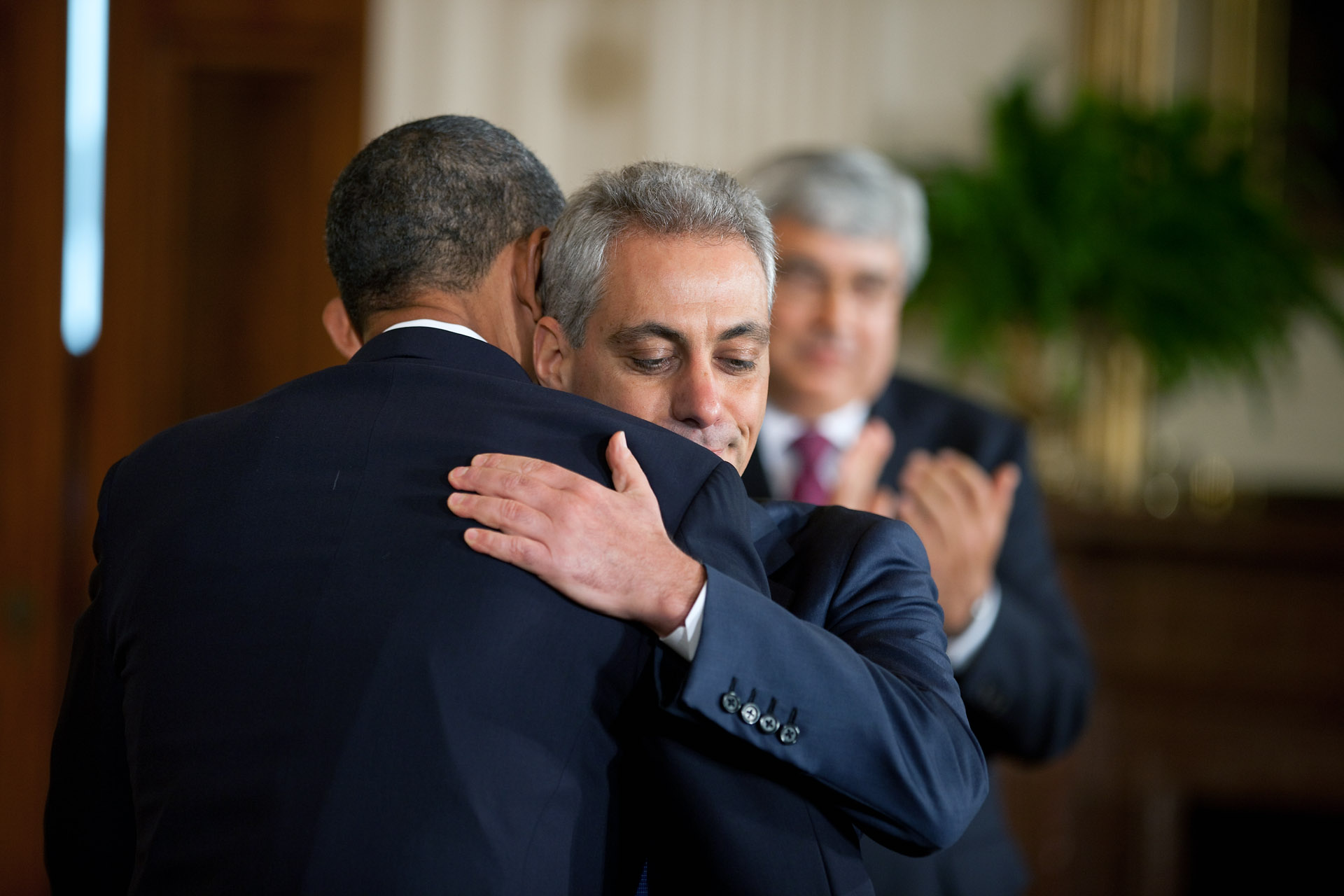 President Obama Hugs Outgoing White House Chief of Staff Rahm Emmanuel Following the Personel Announcement